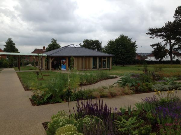 The new garden building at St Peter's Hospice in Brentry, Bristol