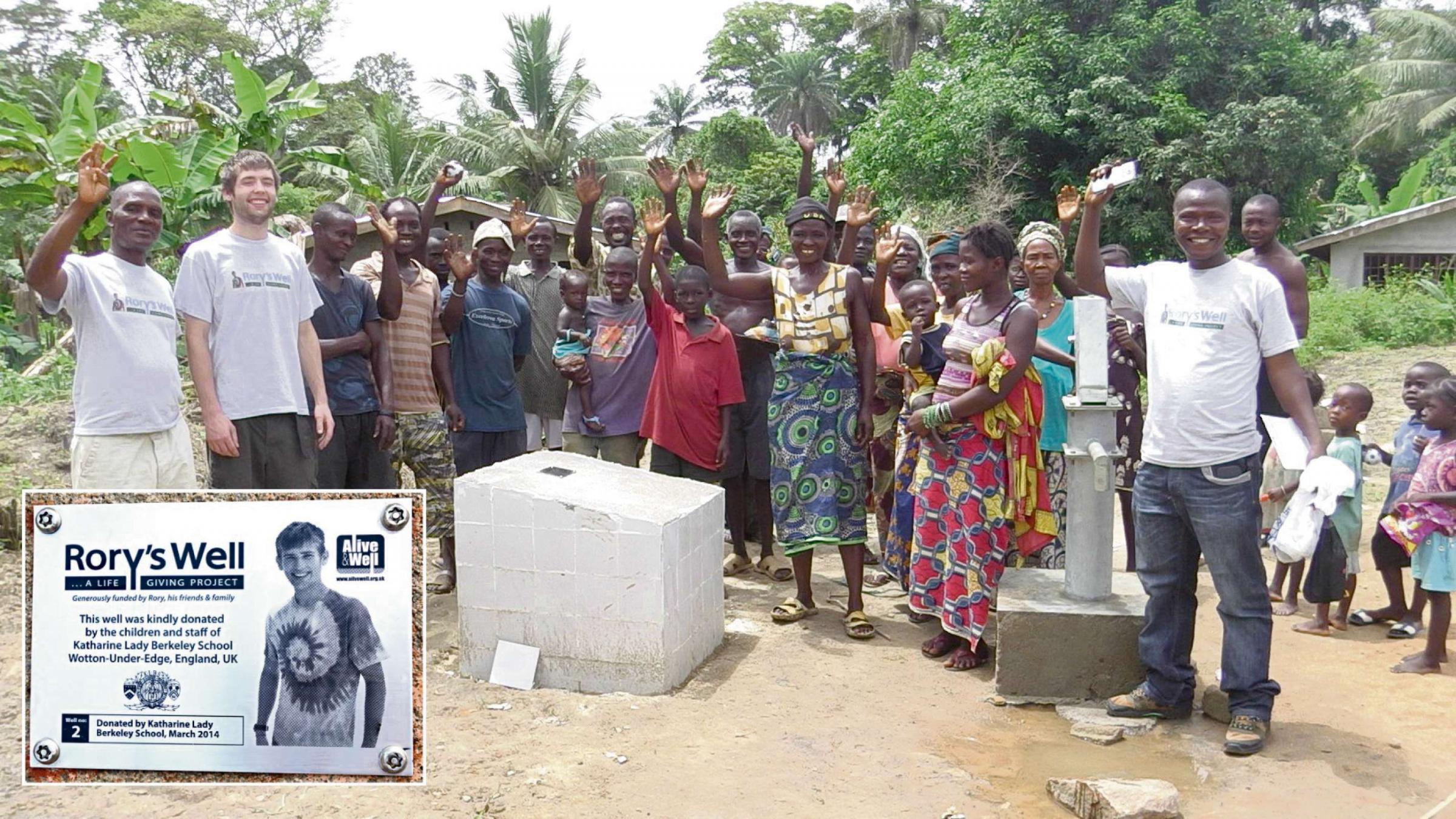 Rory Evans family at one of the six wells they have built in Sierra Leone. Inset, the plaque appearing on each of the wells in Rory's memory  (7940815)