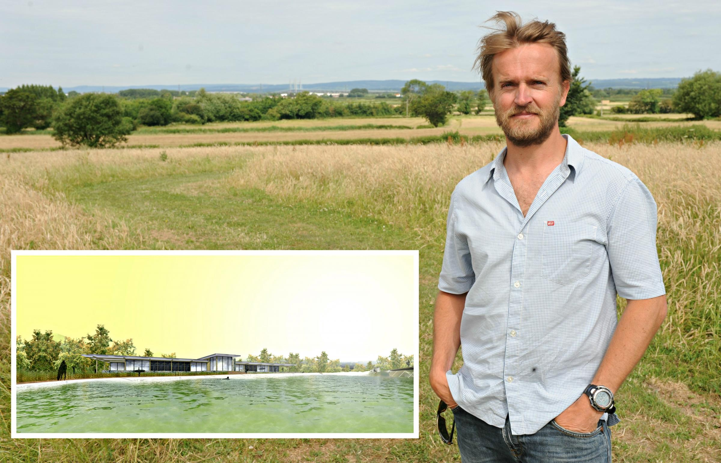 Nick Hounsfield, founder of the Wave, in fields next to where the lake will be built and an inset picture of the clubhouse (7524298)