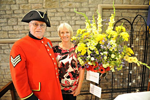 SR_130_001     Chelsea Pensioner Michael Allen with Rosemarie Berry at the St John's Church Summer Fete and Flower Festival on Saturday in Charfield (7929764)