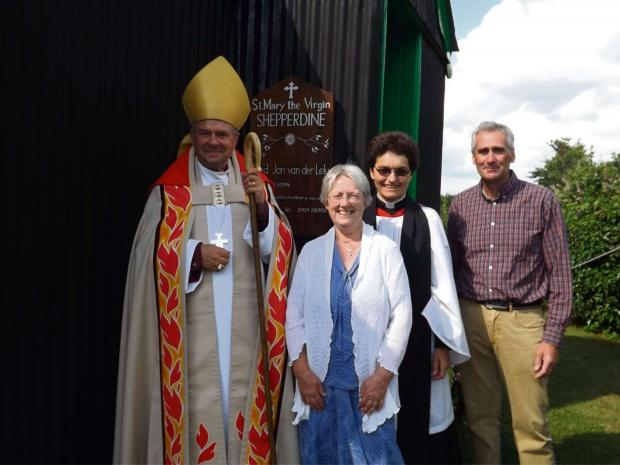 The Bishop of Gloucester, the Right Rev Michael Perham, with Thornbury, Oldbury and Shepperdine vicar, the Rev Jan van der Lely, Oldbury churchwarden Andrew Gazard and Sandra Grey, who looks after Shepperdine chapel.  (7922746)