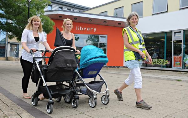 Christina Wheeler, Walking for Health Project worker for South Gloucestershire Council, with Nicola Gowen and Gemma Thomas at the launch of the Yate Buggy Walk at Yate Library on Monday