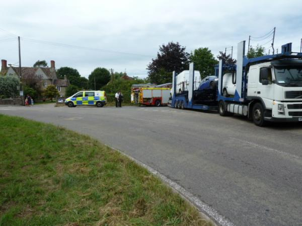 A car transporter and fire engine collide on Latteridge Road
