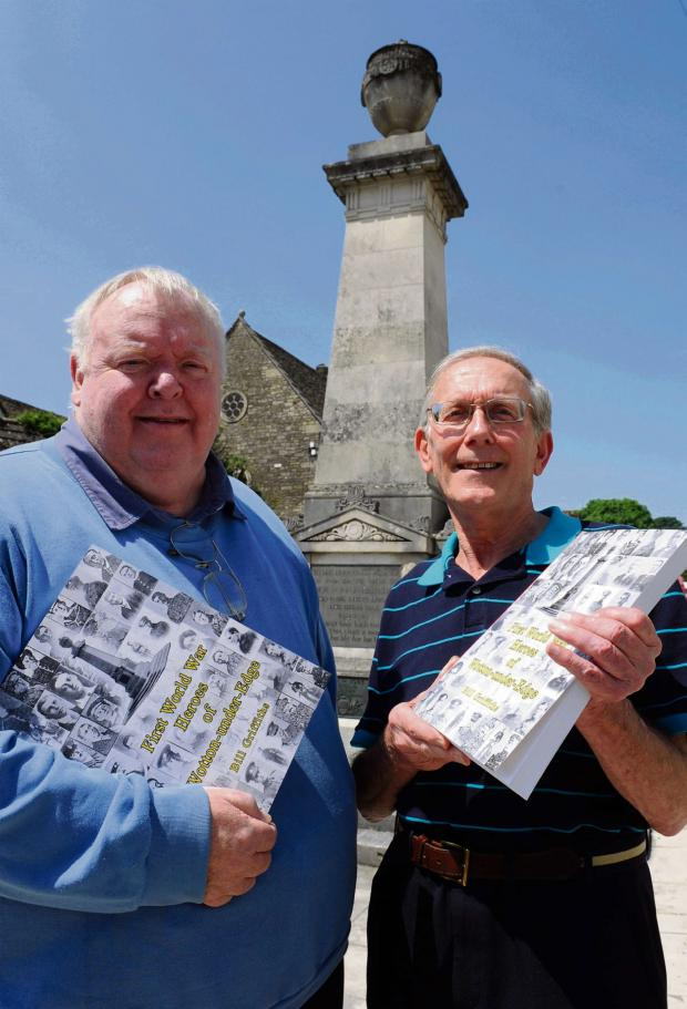 Gazette Series: Wotton historian Bill Griffiths, right, with a copy of his book First World War Heroes of Wotton-under-Edge and editor Stuart Braidford, remembers the sacrifice made by those from the town in the First World War (8094908)