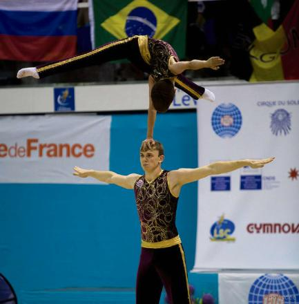 King Edmund gymnasts Chris Child and Rob Bates in action at the World Acrogymnastics Age Group Championships