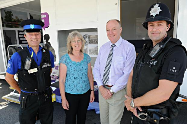 SR_300_001     PCSO Mike Trebble, Christine Sweet, Village Agent for the Wotton area, and PC Mark Wilson with Gloucestershire Police and Crime Commissioner Martin Surl during his visit to Wotton-under-edge on Monday (8678666)