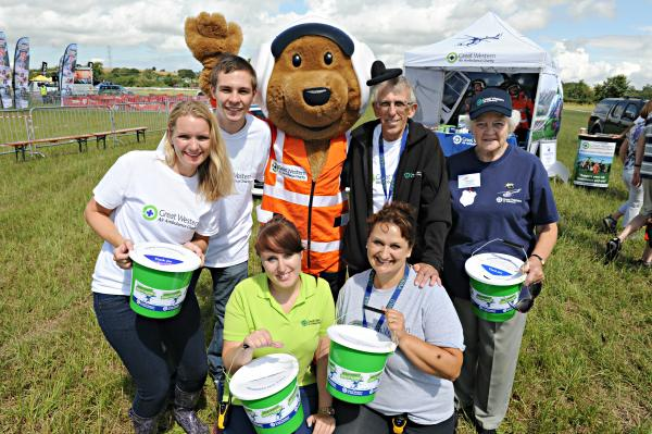 Charlie the Critical Care Bear with Great Western Air Ambulance volunteers at the South Gloucestershire Show on Saturday