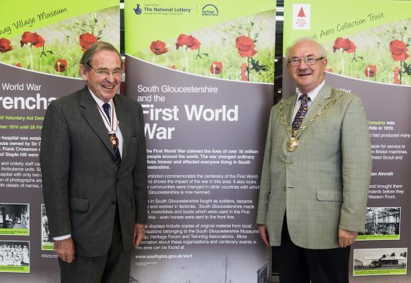 Vice Lord Lieutenant of Gloucestershire Robert Bernays OBE and chairman of South Gloucestershire Council Cllr Howard Gawler at the opening of the World War One exhibition in Tesco Extra, Yate