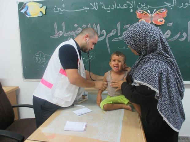 Christian Aid partner Palestinian Medical Relief society treating a patient taking shelter in a UN school (9084158)