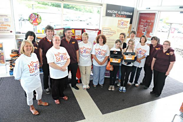 SR_376_001     Staff and volunteers of the Home Start charity with staff of Sainsbury's in Dursley at the launch of the new partnership between the charity and the store (9053091)