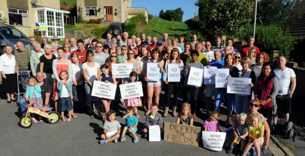 Residents of Hardings Drive in Dursley against the possible development of surrounding fields   GSR1148H13