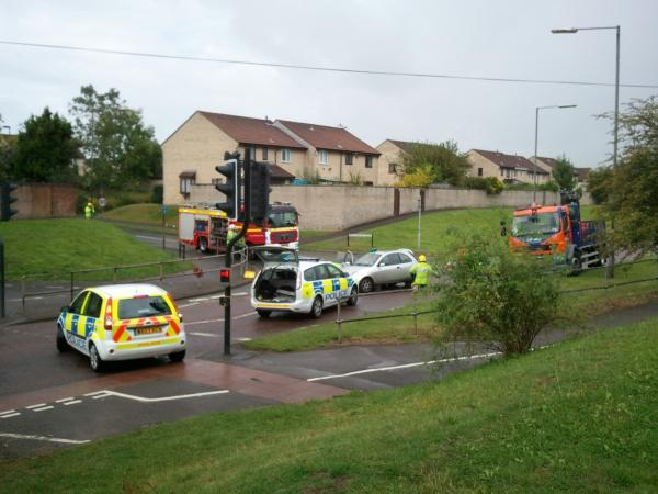 The scene of the accident on Goose Green Way in Yate this morning. Picture by reader Robert Lonsdale.
