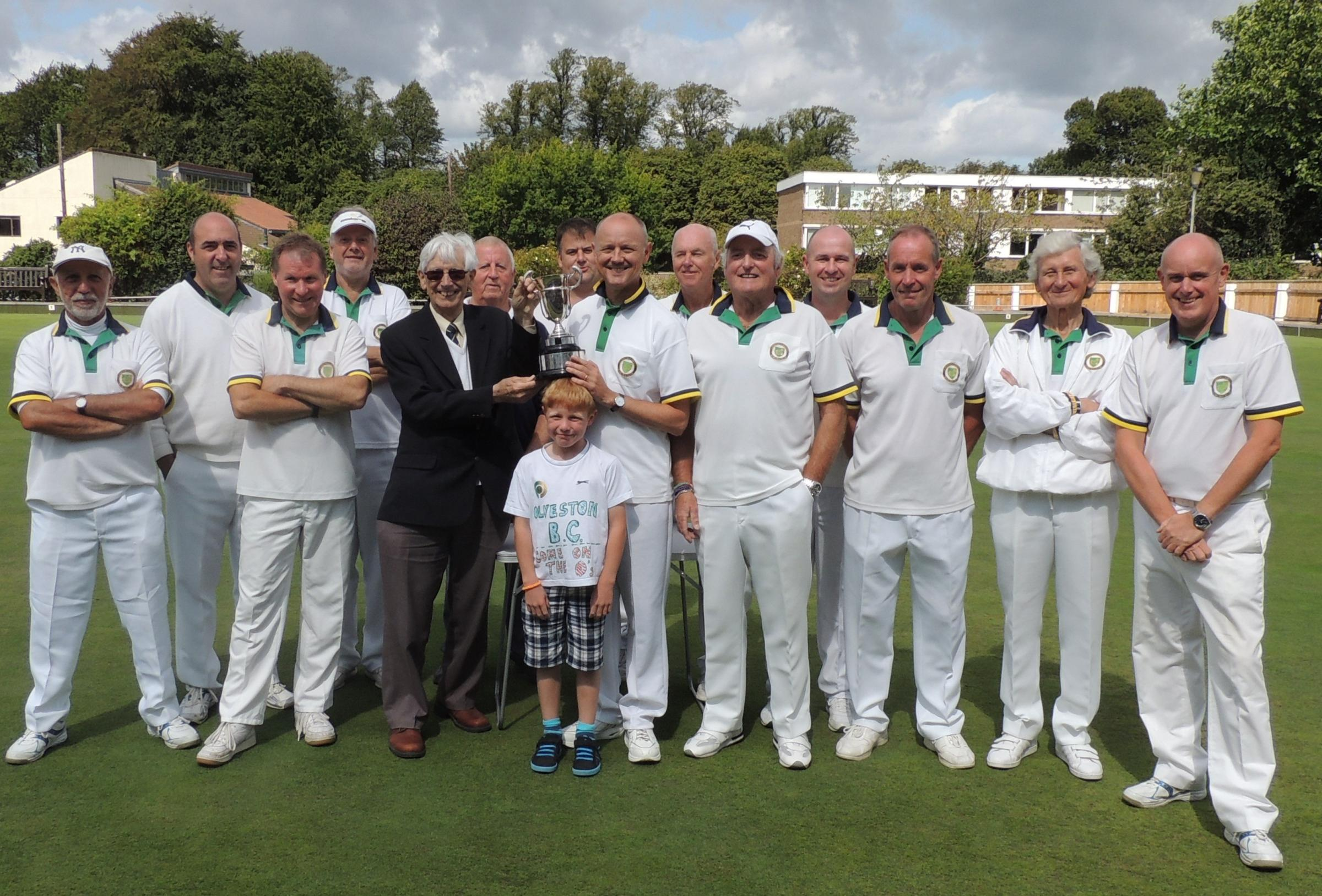 Olveston & District Bowling Club winning team being presented with the Lloyd Trophy