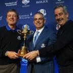 Gazette Series: Paul McGinley, pictured centre, with Des Smyth, left, and Sam Torrance, right, face tough decisions on Monday