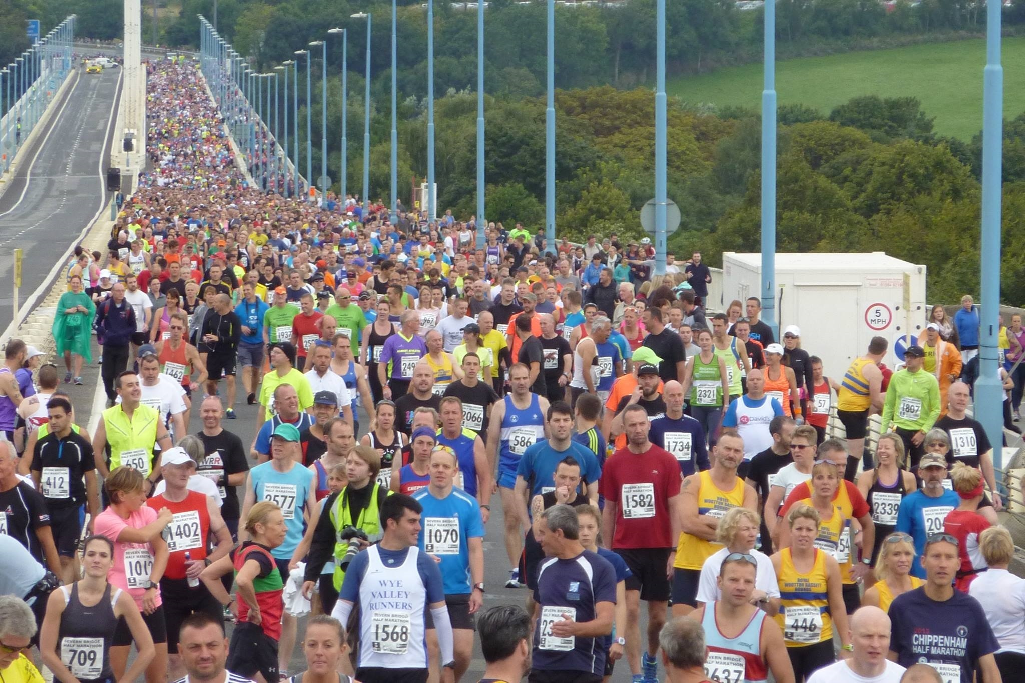 Runners line up for the Severn Bridge Half Marathon