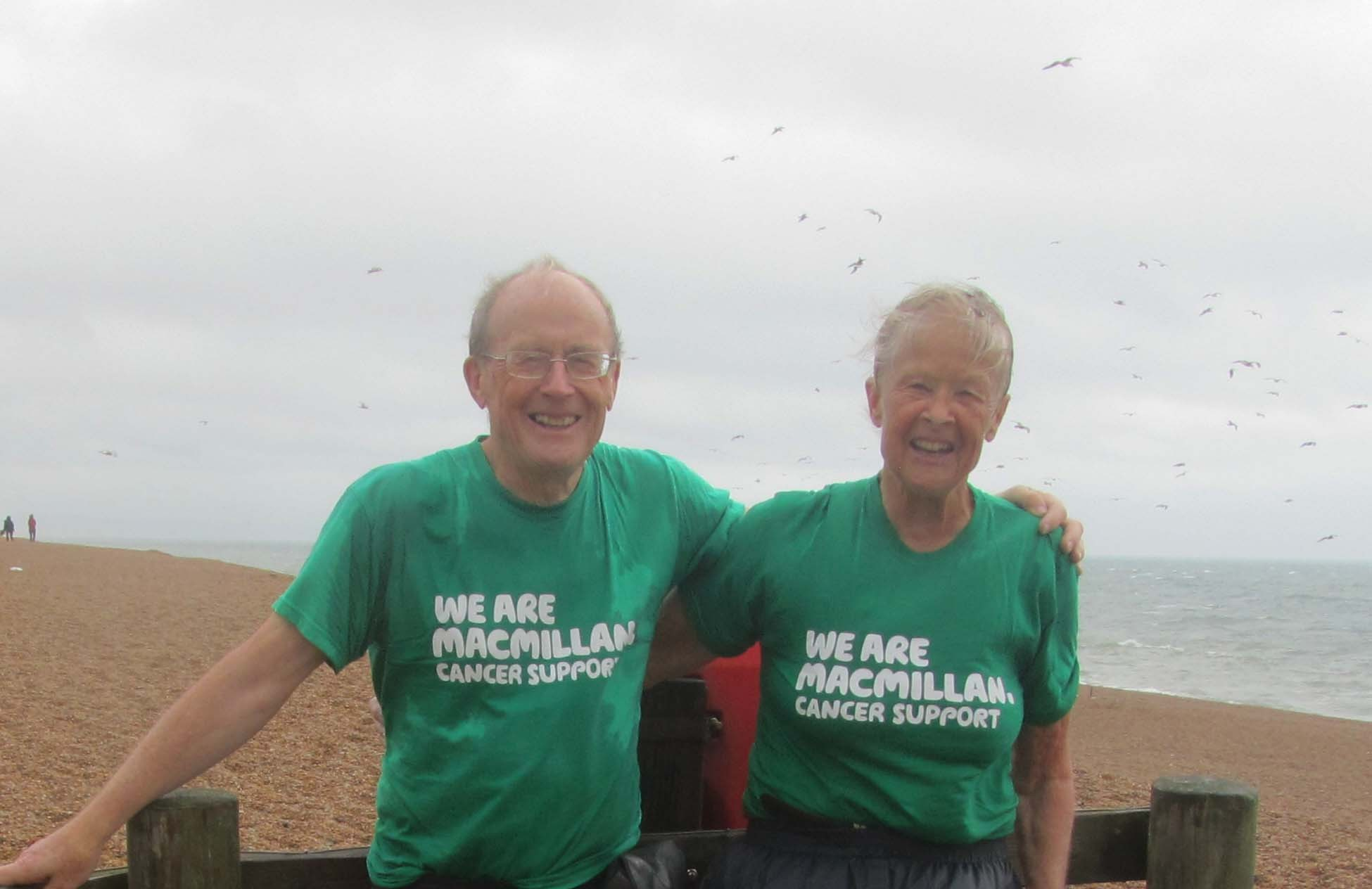 Two very wet walkers on Chesil Beach as they finished  (9883429)