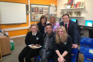 Celebrity chef Gino D'Acampo pays a visit to Rednock School in Dursley