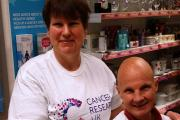 Cancer Research UK volunteers in Yate Sandra Hill and Stephen Matthews hope people will buy the unity bands to support the charity