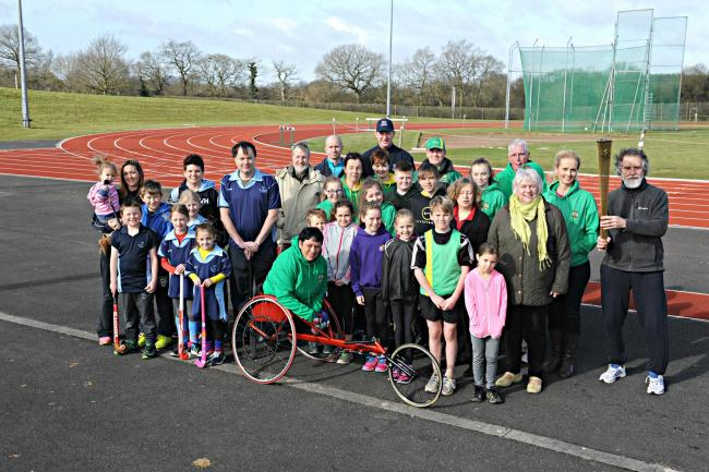 Yate Town Councillors with Yate and District Athletic Club members and Yate Hockey players at the Yate Outdoor Sport Complex
