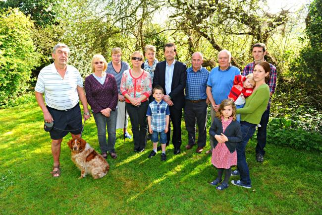 Residents of The Hill in Almondsbury who are opposed to the proposed helicopter base near their homes (23352965)