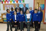 Back row: prospective MPs Luke Hall and Steve Webb with The Manor Primary School pupils: Ben Dennington, Jasper Alleyne, Edward Bowen, Molly Colbourn, Sam Bennion, Lily Porter-Bird, Tyrese Morrison, Amelia Vowles and Ema Skorodenska