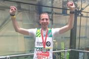 Runner Chris Hares after completing the Virgin Money London Marathon in aid of St John Ambulance