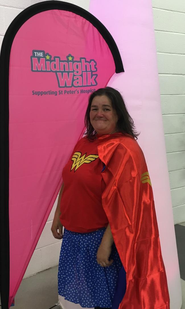 Pippa Howard taking part in the St Peter's Hospice Midnight Walk