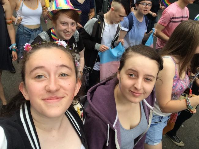 Members of the LGBTQ group which meets at Yate's Armadillo cafe at Bristol  Pride at the