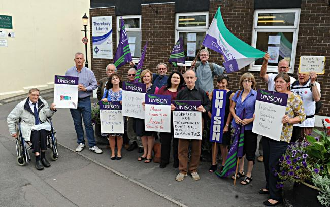 Labour party members and Unison representatives protesting outside Thornbury Library yesterday