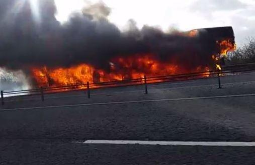 : The transporter on fire between junction 16 and 17 of the M4 earlier today