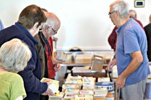 People peruse the selection of books on offer