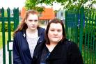 Rhea Wood, 16, a former pupil of Rednock, and Fleur Winterbourne, a parent of a pupil at the school outside the front gates