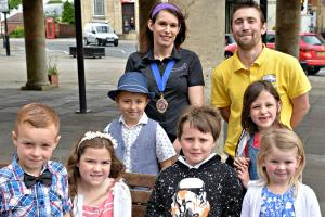 L to R: Dursley Carnival's pageboy Ayden Wood, 6, queen Claudia Reeves, 8, prince Harry Delrosa, 7, king Thomas Hooper, 6, princess Maisy Bendall, 6, and rosebud Olivia Farnsworth, 5, along  with deputy mayor Suzi Abraham and carnival chairman Wayne Paice