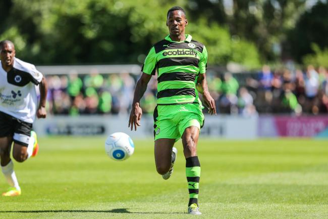 Ethan Pinnock on his debut for Forest Green           Pic: Shane Healey
