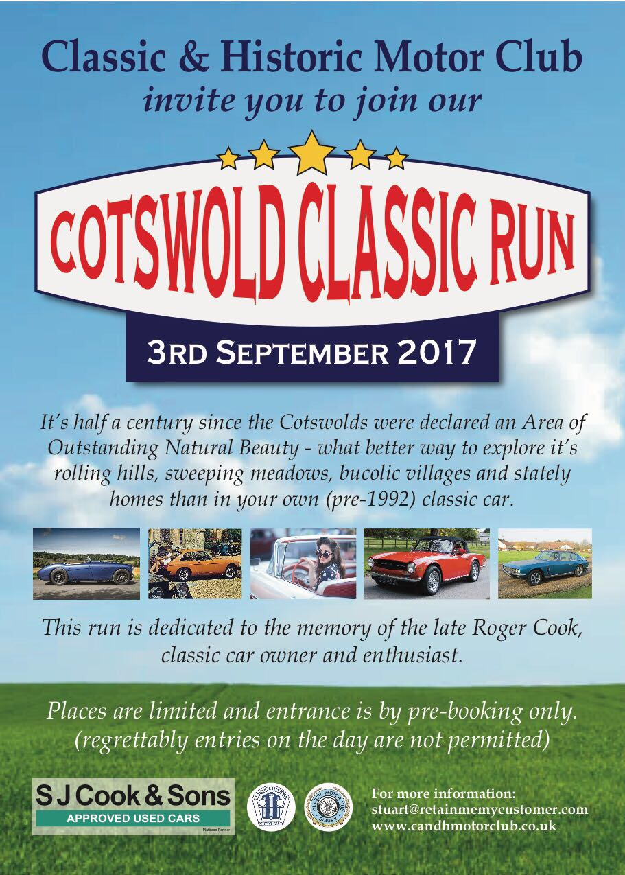 Cotswold Classic Run at Kemble in memory of car enthusiast