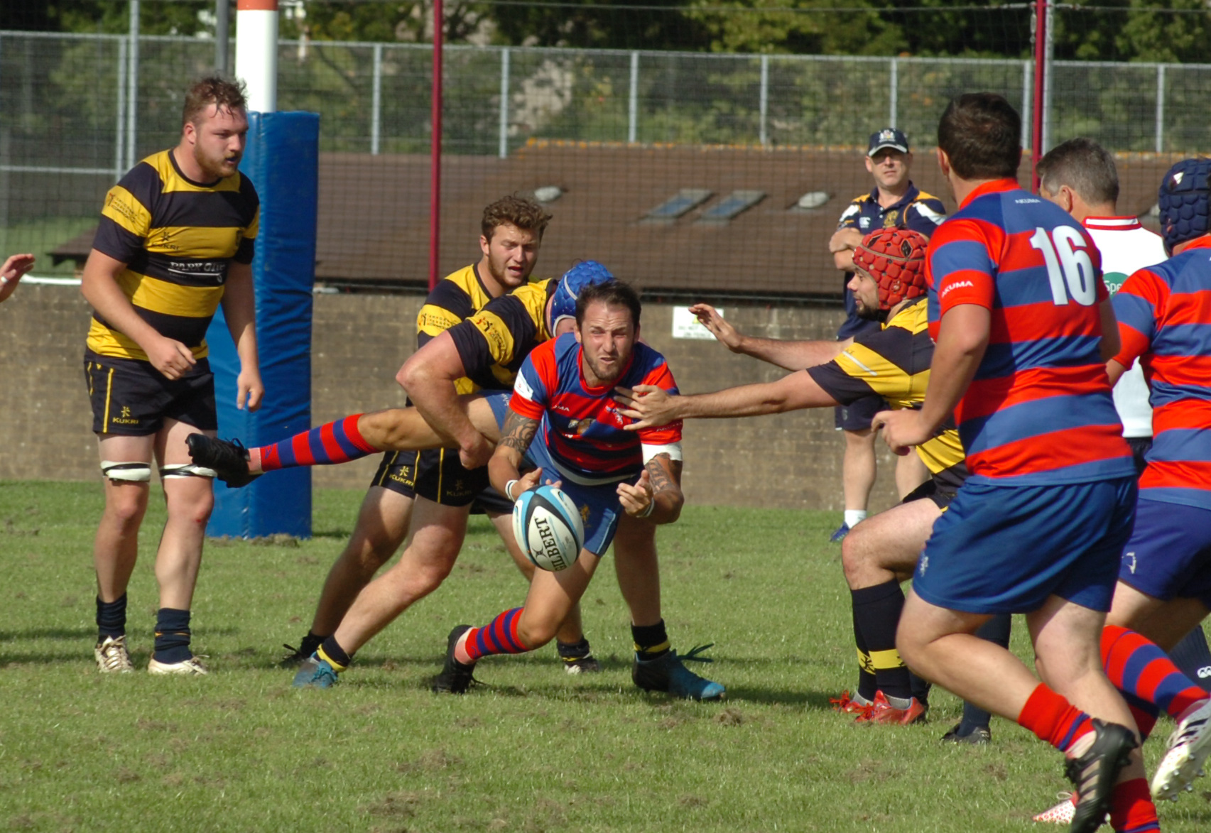 Anthony Jelf just about gets the ball away for North Bristol against Old Colstonians last Saturday. Pic: Steve Richards
