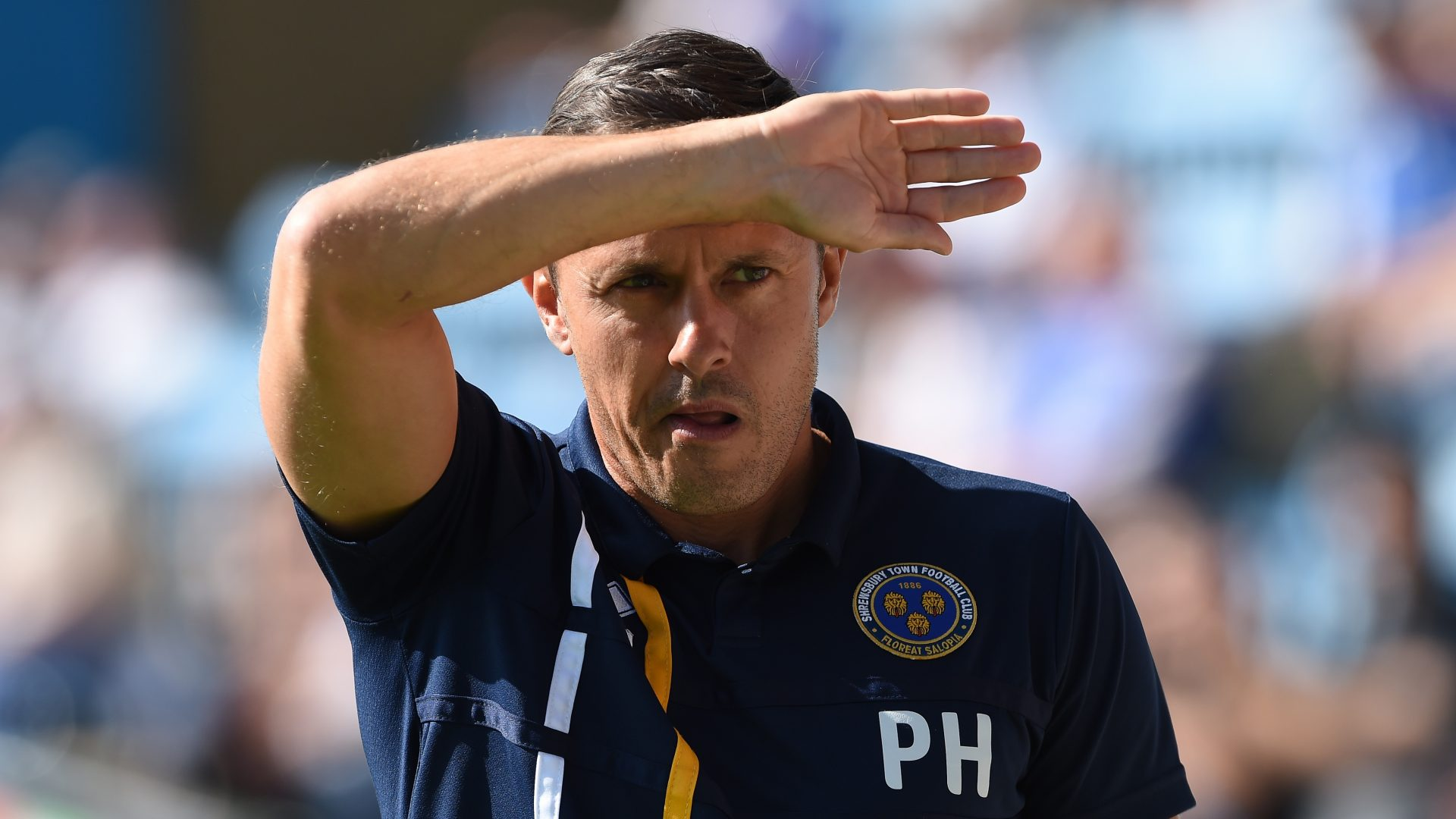 Shrewsbury Town manager Paul Hurst during the Sky Bet League One match at the MEMS Priestfield Stadium
