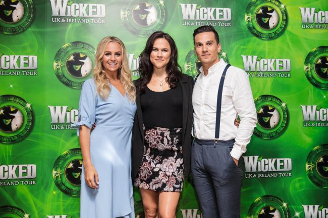 Helen Woolf (Glinda), Amy Ross (Elphaba) and Aaron Sidwell (Fiyero). Photo by Darren Bell