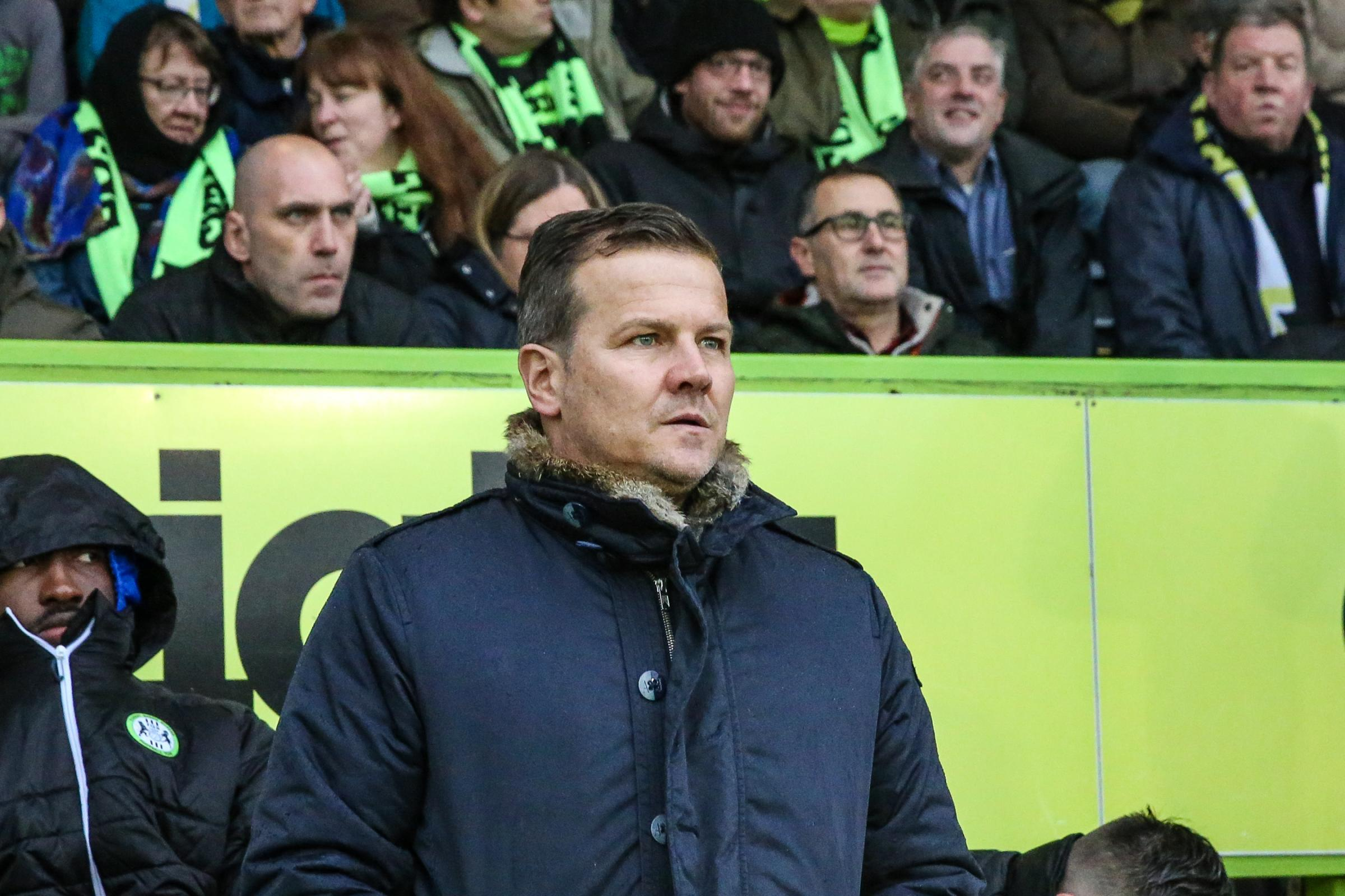 Forest Green Rovers manager, Mark Cooper before the start of the match during the EFL Sky Bet League 2 match between Forest Green Rovers and Crewe Alexandra at the New Lawn, Forest Green, United Kingdom on 18 November 2017. Photo by Shane Healey.