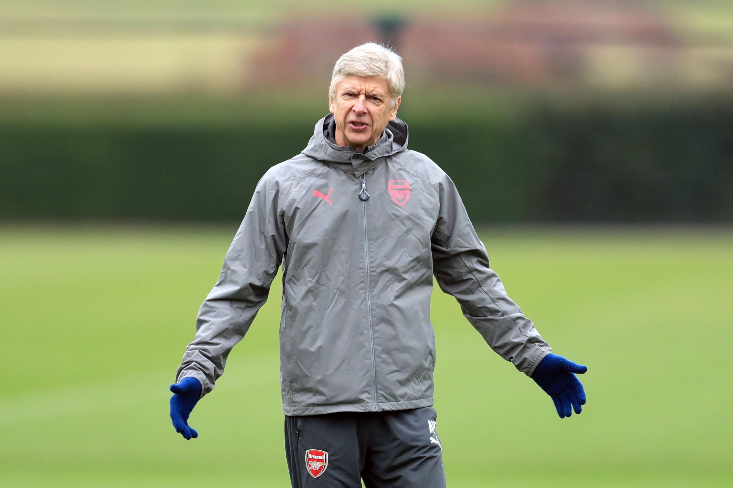 Arsene Wenger during a training session at London Colney (Adam Davy/PA)