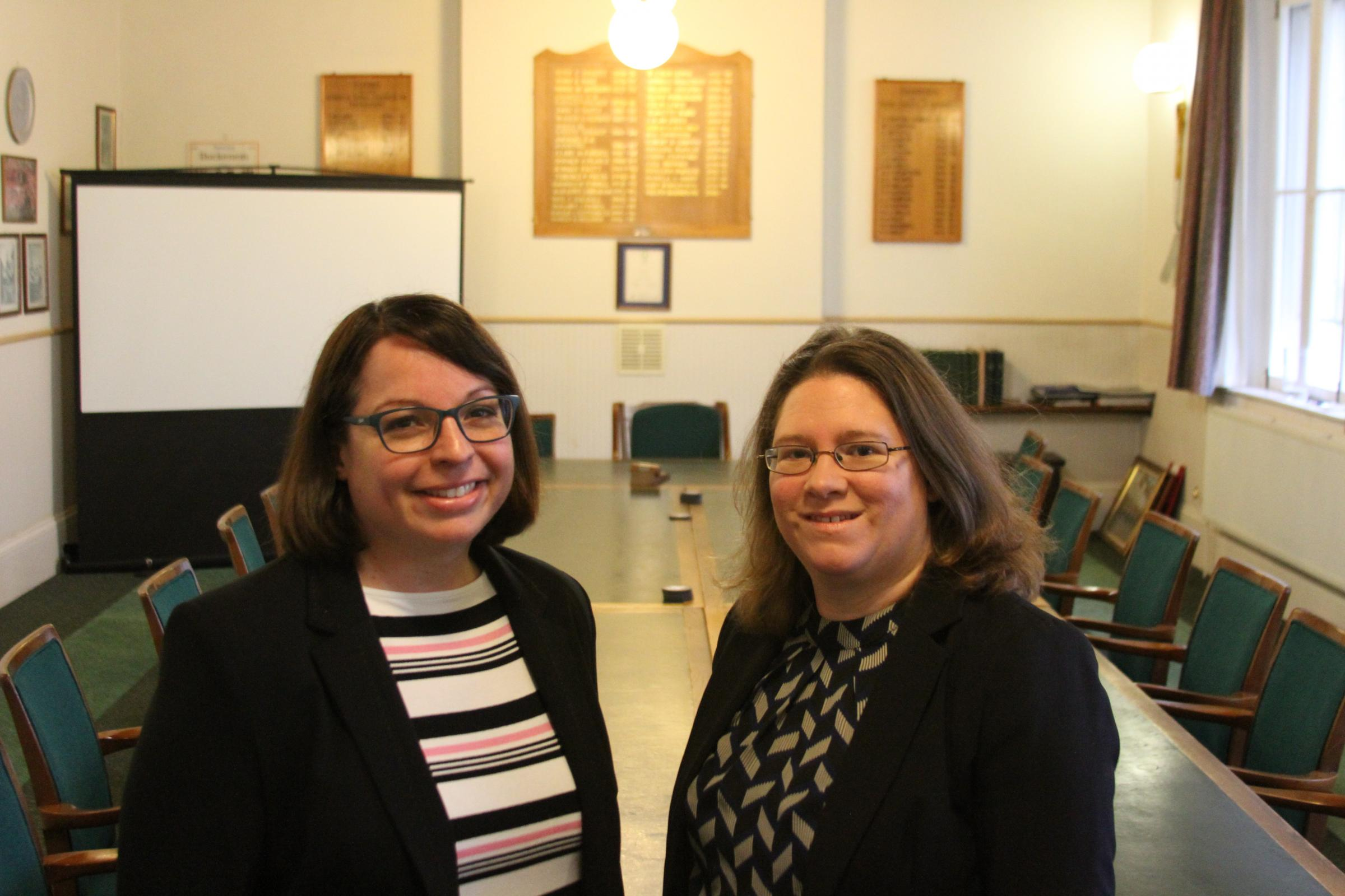 New clerk Louise Powell (left) in the Thornbury Town Council chambers with outgoing clerk Clare Nelmes