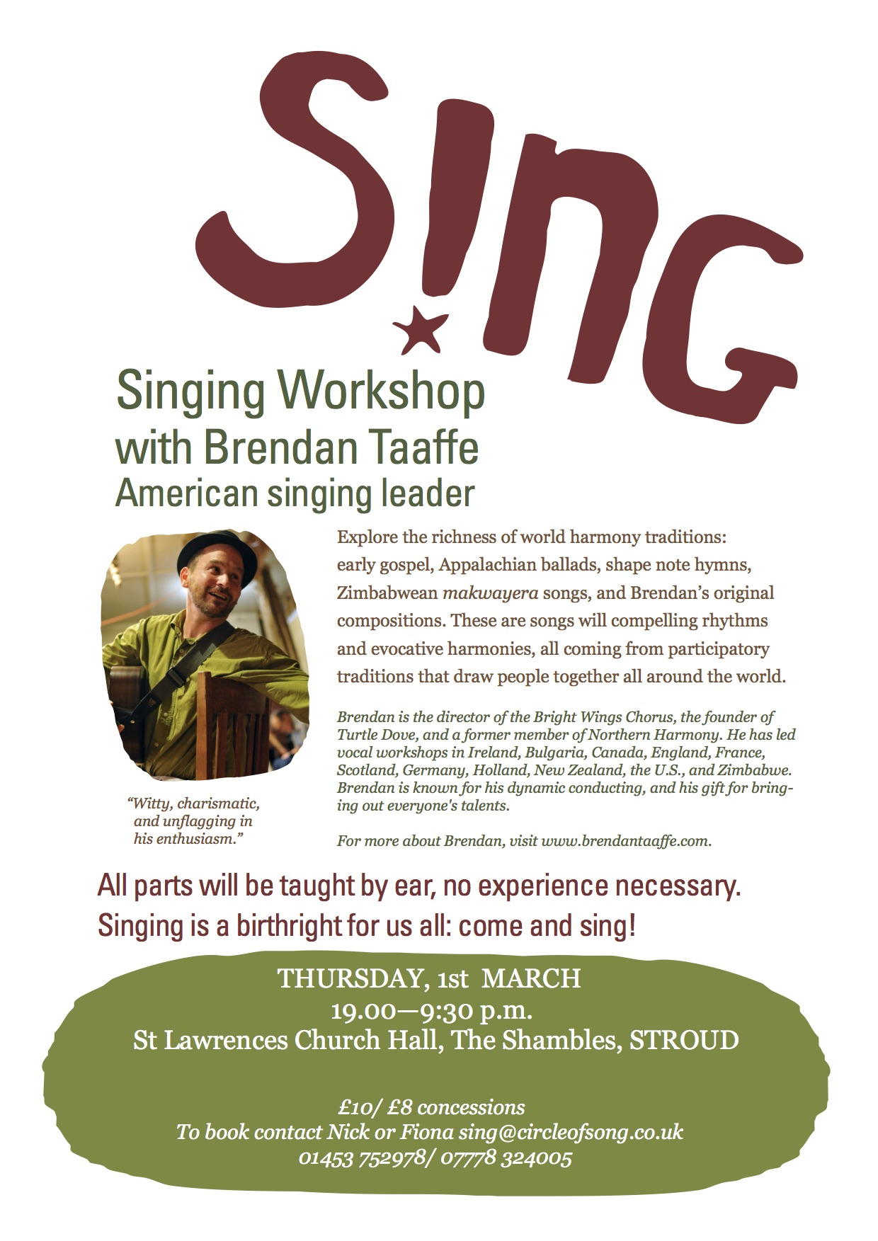 Singing workshop with Brendan Taaffe