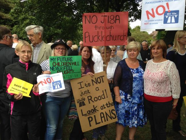 Campaigners, in July 2017, protesting against plans for the new junction, which would include a new link road running past Pucklechurch