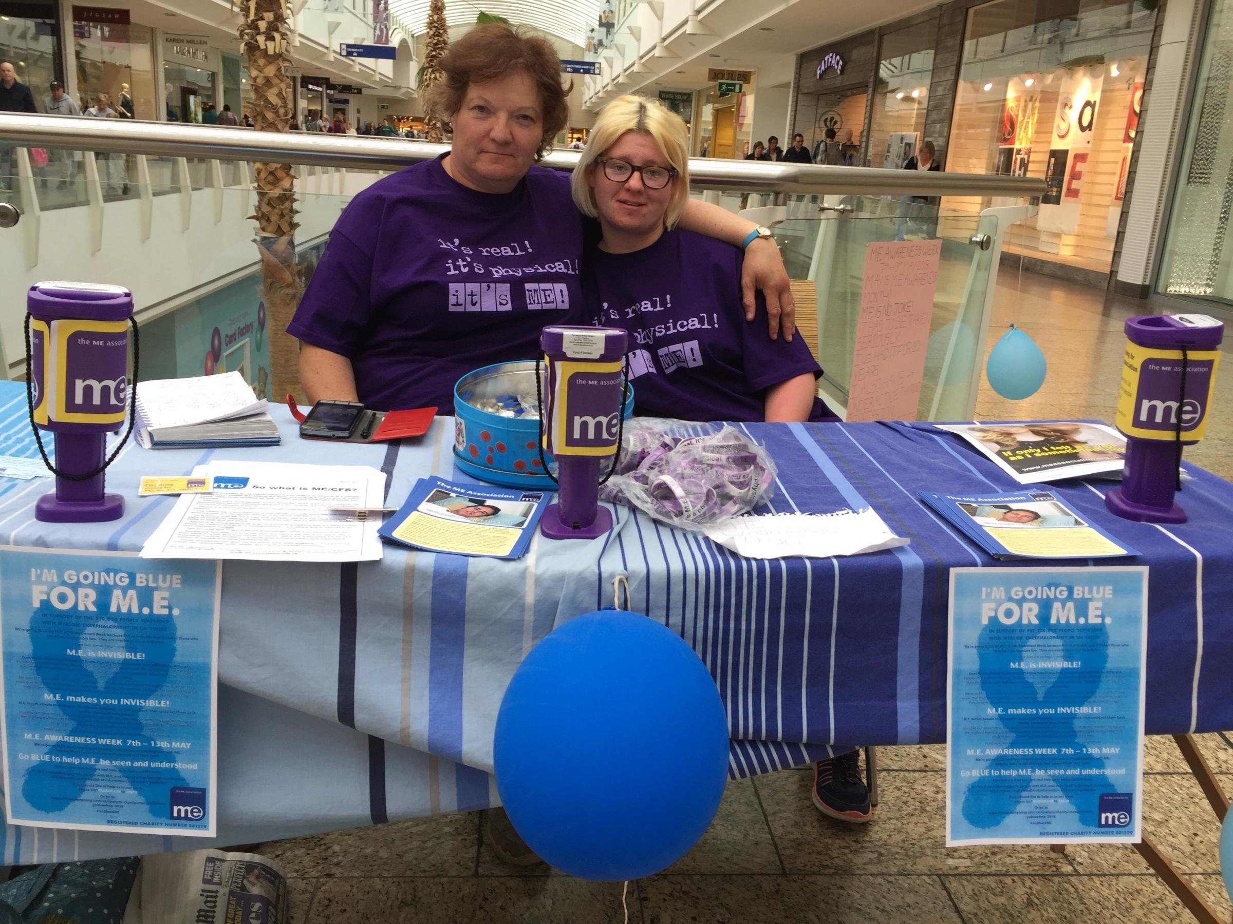 Liz and Helen Wood on their ME awareness stall in The Mall