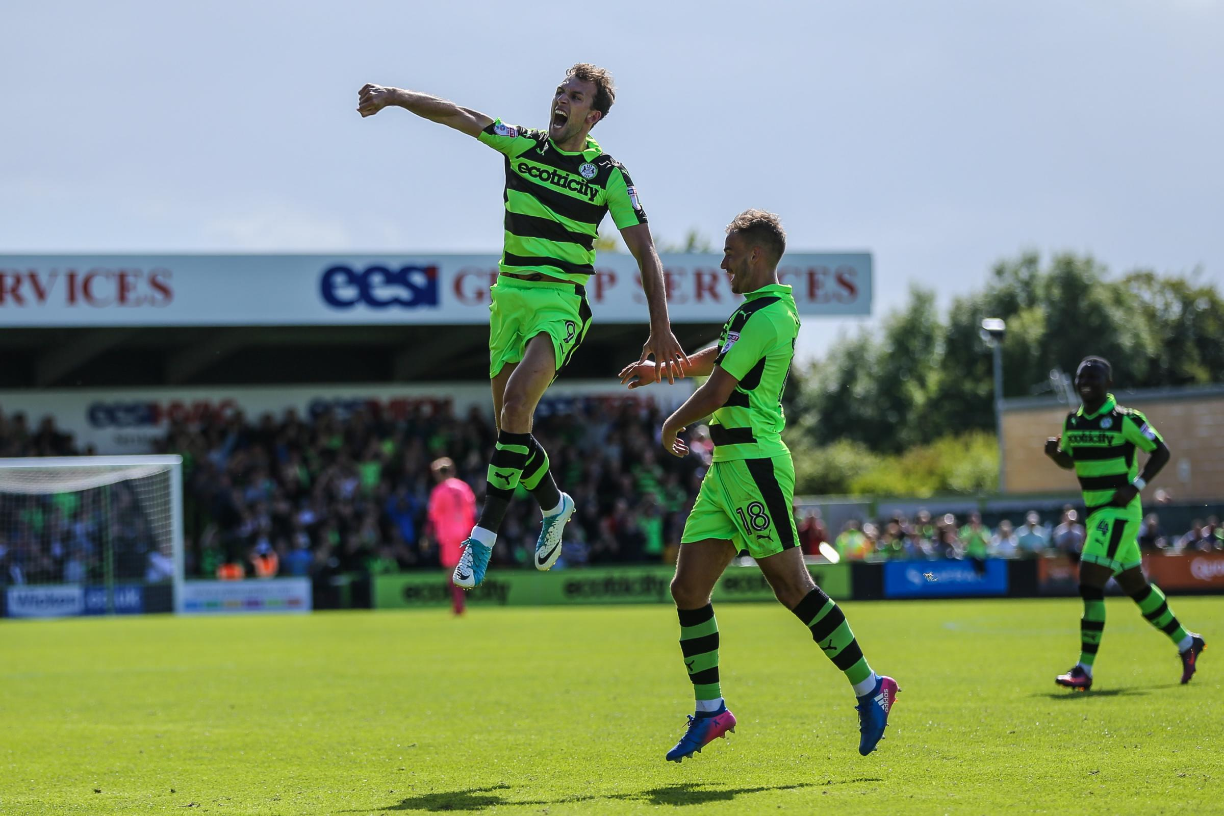Forest Green Rovers Christian Doidge(9) scores Forest Green Rovers first ever league goal and celebrates, 1-0 during the EFL Sky Bet League 2 match between Forest Green Rovers and Barnet at the New Lawn, Forest Green, United Kingdom on 5 August 2017. Phot
