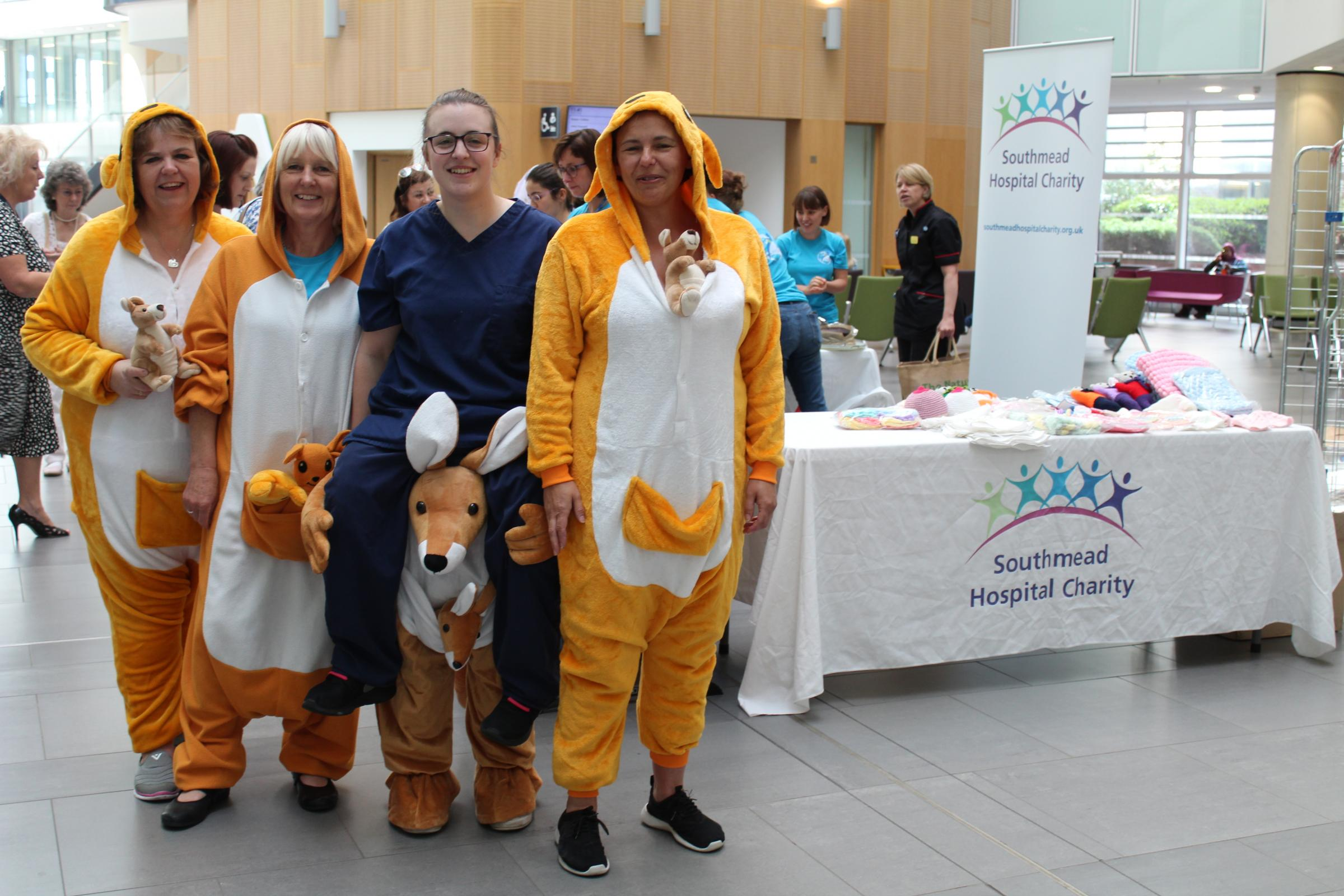 NICU nurses Lisa Ramsey, Karen Wright, Kirsty Wright and Michelle Jackson dressed as Kangaroos at Southmead Hospital