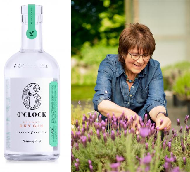 Jekka McVicar and her signature 6 O'Clock Gin bottle