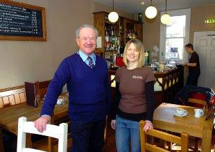 Cllr Howard Gawler with Penny Baker of Cafe Blend in Thornbury