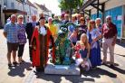 Thornbury's Gromit statue 'Honeysuckle Rose' with mayor Cllr Shirley Holloway, artist Sarah-Jane Grace and members of Thornbury Chamber of Commerce