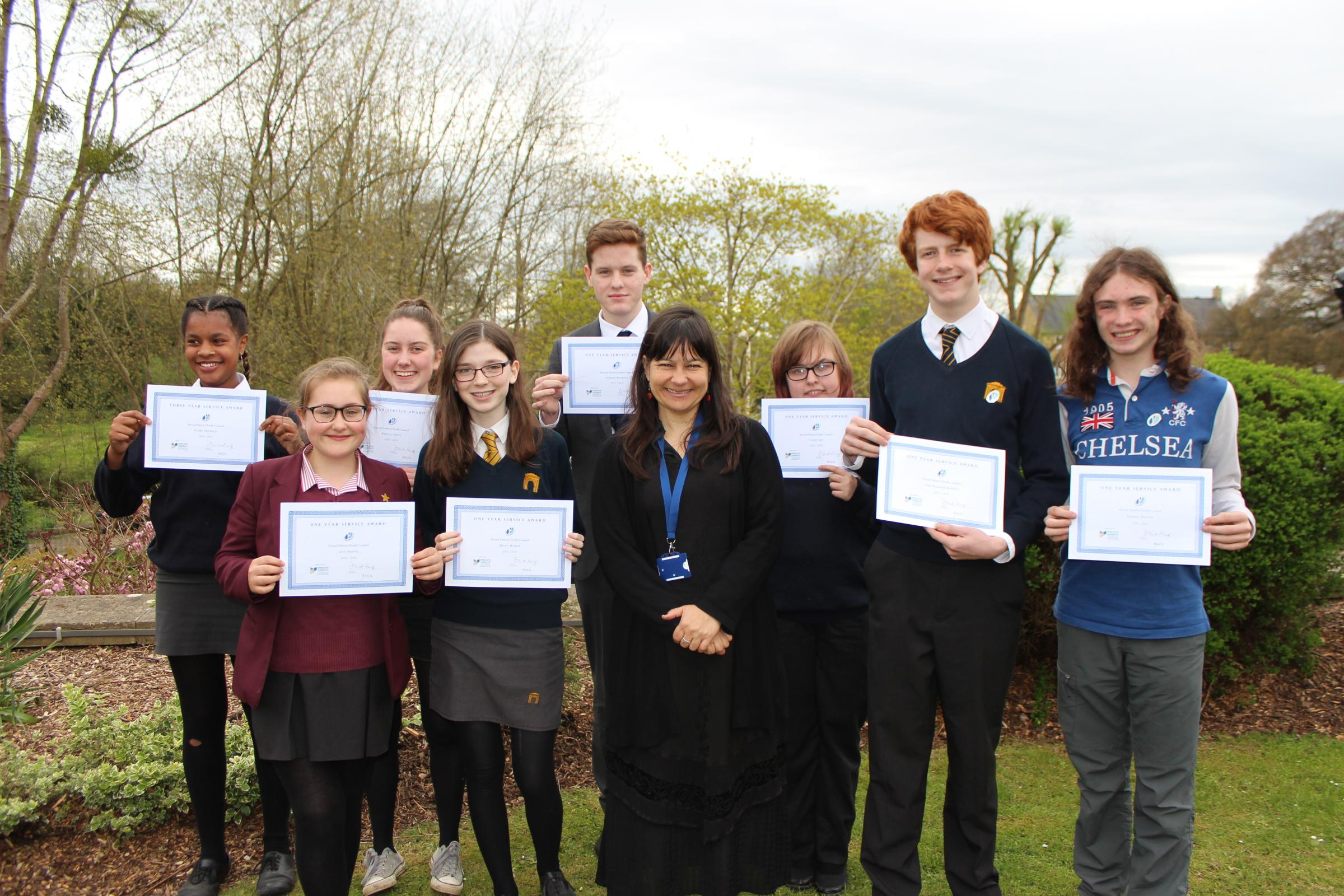 Members of Stroud District Youth Council were given awards by Stroud District Council leader Cllr Doina Cornell.